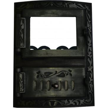 Litinový kamnový štít  KRETA - černá - oblouk s regulací vzduchu