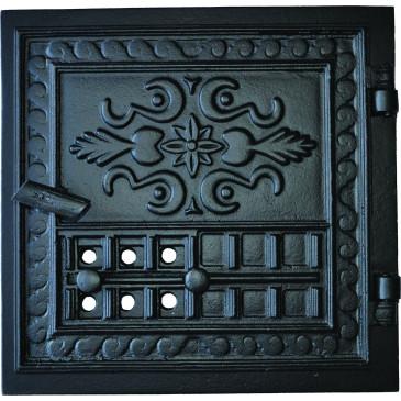 Litinová dvířka hermetická  BAZYLIK - černý s regulací vzduchu