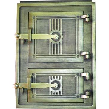Litinová dvířka kuchyňská  - 3T - střední - mosaz