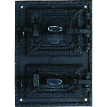 Litinový kamnový štít hermetický – RETRO II.-černý