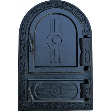 Litinový kamnový štít - KLASIK - OBLOUK-černá